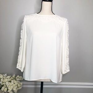 TALBOTS  cream white colored Lace Blouse- sz MP